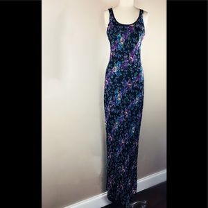 BAND OF GYPSIES Maxi Dress Sz M black with floral